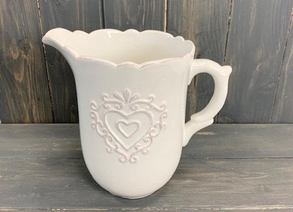 Embossed Heart Ceramic Jug 12cm