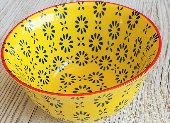 Yellow Daisy Stoneware Bowl