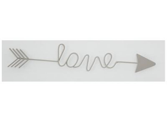 Wire Wall Deco Love Sign Washed White