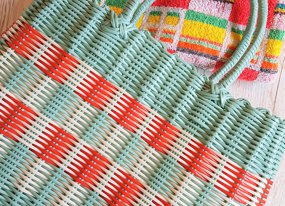 Plastic Weave Shopping Basket - Aqua/Cream/Red - NEW