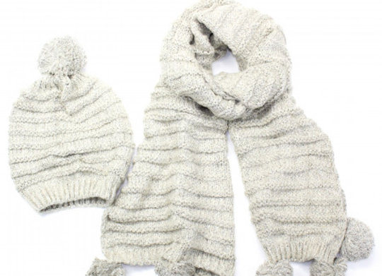 Helena Snood & Hat Set - Cream