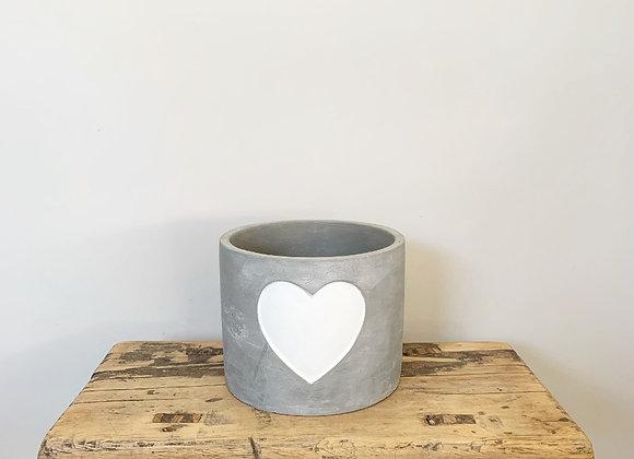 Cement Pot White Heart