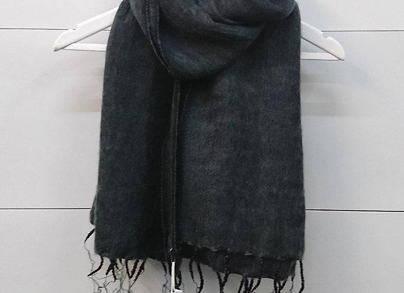 Plain Colour Wool Tassel Scarf - Charcoal