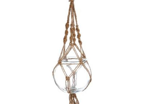 Glass Plant Pot & Rope 16cm