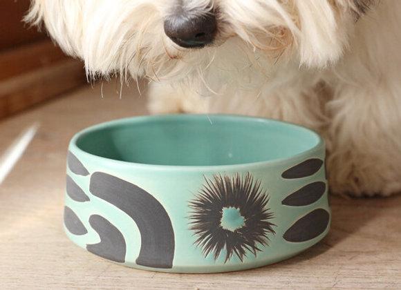 Ceramic Mint & Black Dog Bowl