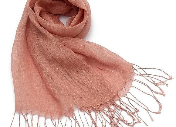 Plain Tassel Linen Scarf - Dusty Pink