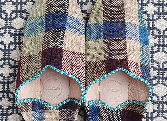 Moroccan Boujad Babouche Slippers - Natural Check M