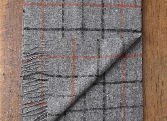 Simple Check Pure Wool Tassel Scarf