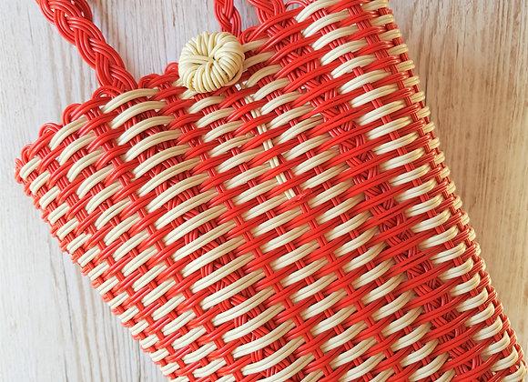 Plastic Weave Bag In Red & Cream