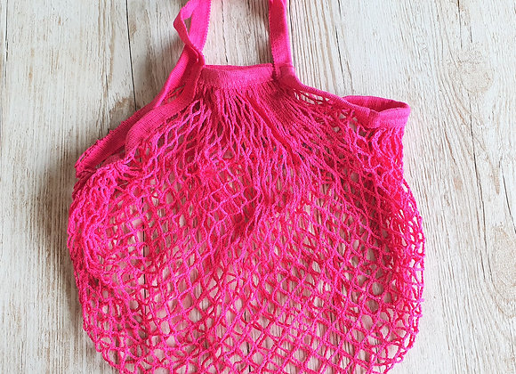 French Style String Shopping Bag - Hot Pink