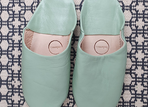 Moroccan Babouche Basic Slippers - Sage M