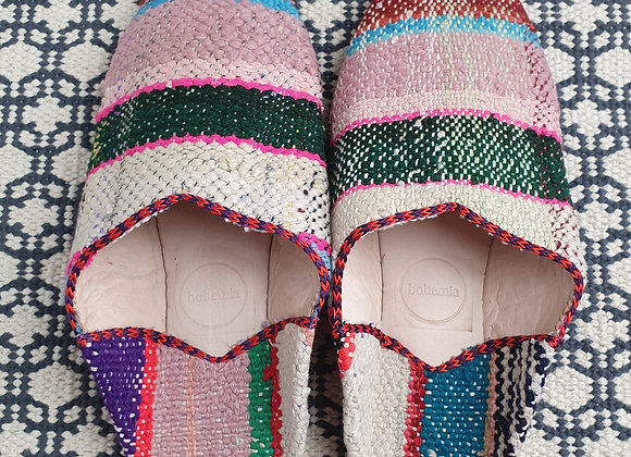 Moroccan Boujad Babouche Slippers - Natural Check XL