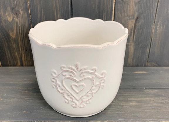 copy of Embossed Heart Ceramic Pot 14.5cm