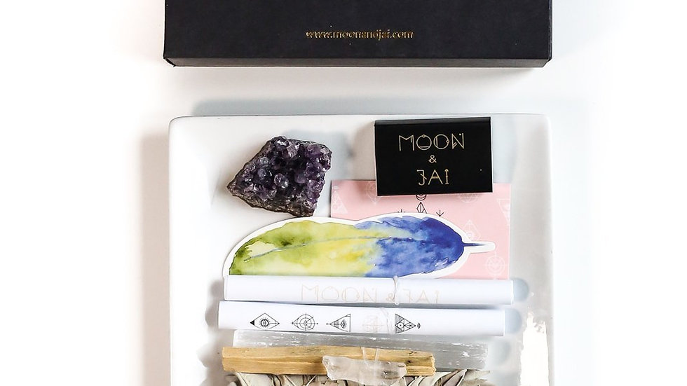 Healing Ritual Kit with Amethyst, Selenite, Clear Quartz, Sage