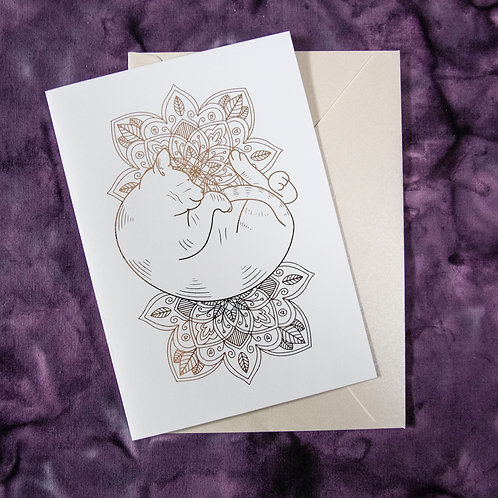 Foil Gift Card - Rose Gold Cat Mandala
