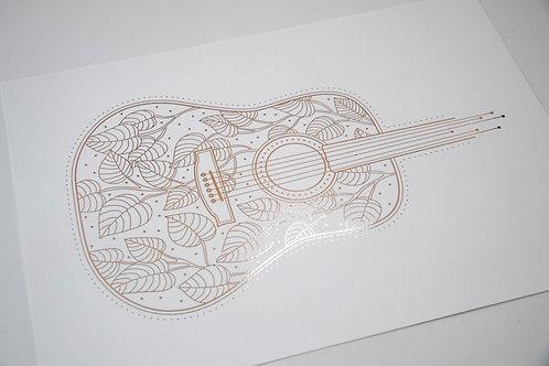 A4 Rose Gold Foil Leaf Guitar Unframed Print