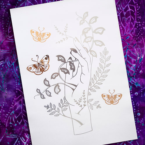 A4 Unframed Foil Print - Silver and Rose Gold - Plant Hand