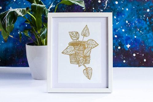 A5 Foil Framed Print White