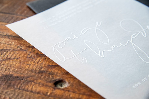 WHITE INK ON VELLUM INVITATION
