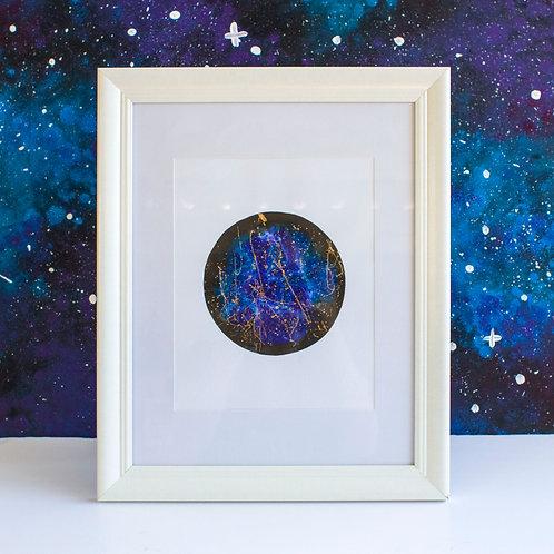 Framed Ink Moon with Foil Details