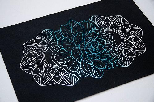 A4 Blue and Silver Foil Mandala Succulent Unframed Print