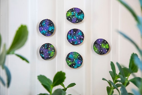 Galaxy Wood Magnets - Pack of 3