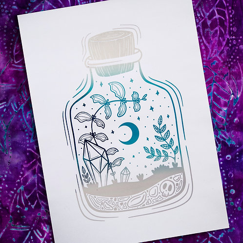 A4 Unframed Foil Print - Silver and Blue Ombre - Terrarium