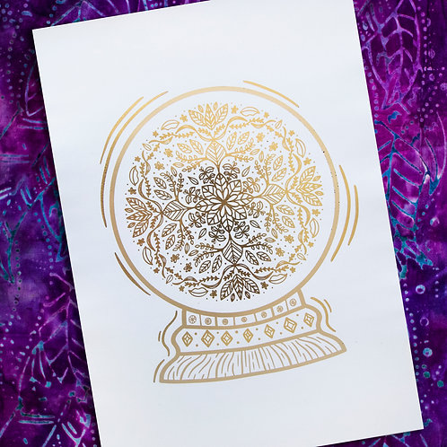 A4 Unframed Foil Print - Gold and Matte Champagne - Mandala Crystal Ball
