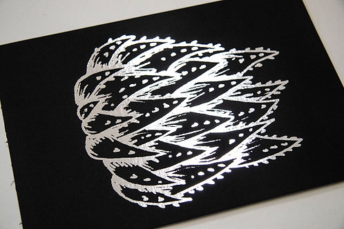 A5 Silver Foil Sketched Succulent Unframed Print