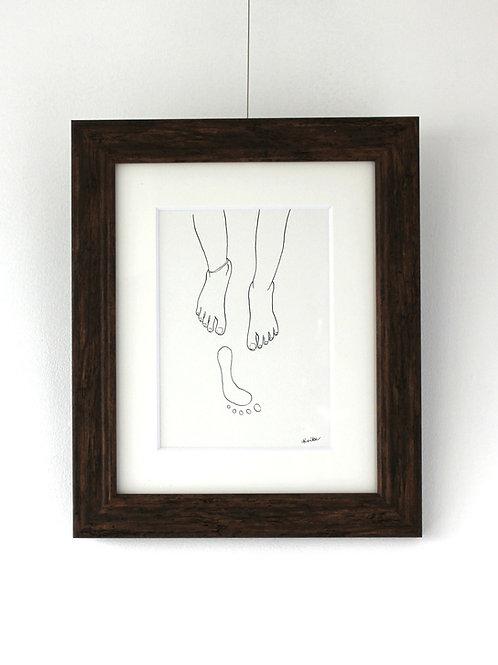 イラスト原画「foot prints」【額装済み】【送料無料】