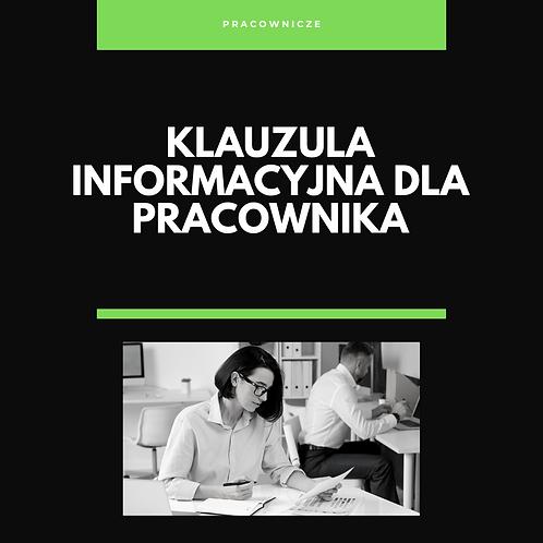 Klauzula informacyjna dla pracownika