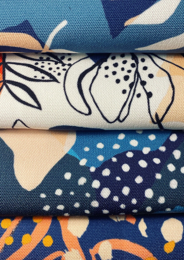 Close up image of some of my final fabrics, created digitally due to the changes in circumstances however wanted to create screen printed samples.