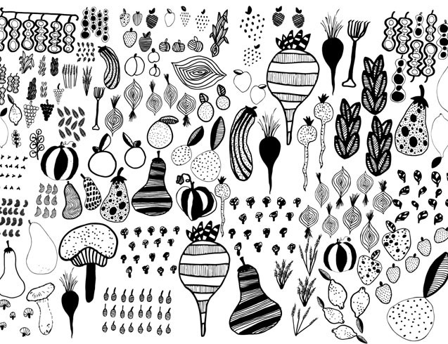 line-drawings-of-allotment-plants