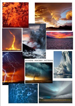 Extreme Weather mood board – looking at 9 different climate events: fires, fire tornadoes, cloud formations, storms, droughts, volcanic eruptions, lightning showers, melting ice caps and tornadoes.