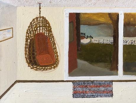 Egg chair, Oil on canvas panel, 18x24cm, 2021