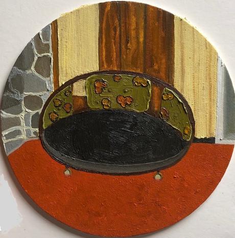 Pelican lake, Oil on Canvas panel, 20cm diameter, 2021