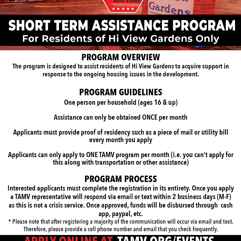 Short Term Assistance Program (For High View Residents Only)
