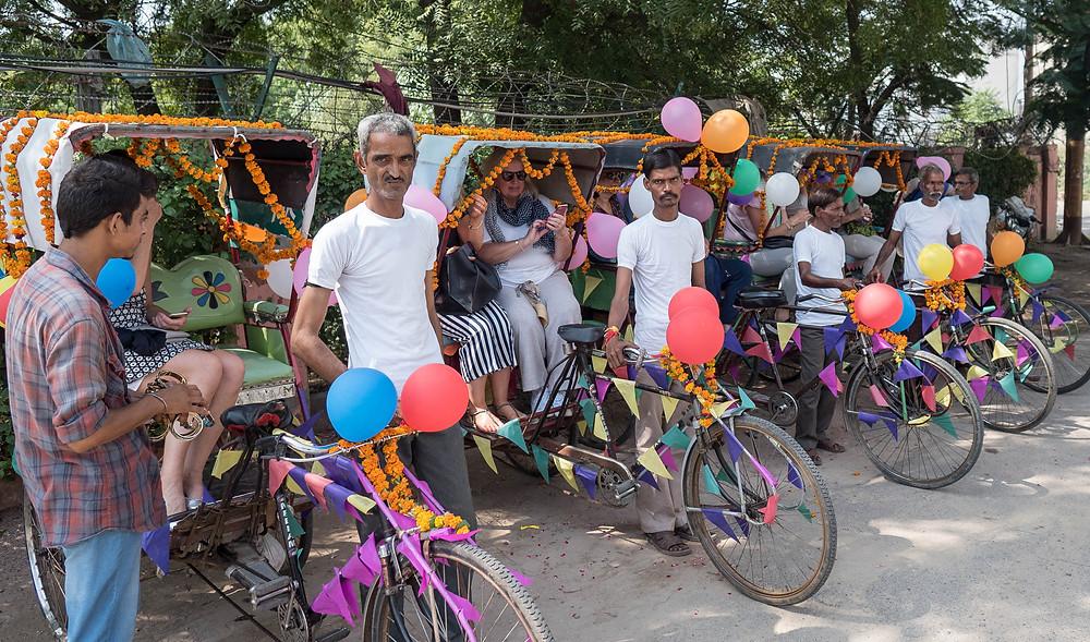 Colourful cycle rickshaws in Agra
