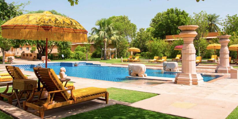 The pool at the Oberoi Rajvilas Hotel, Jaipur
