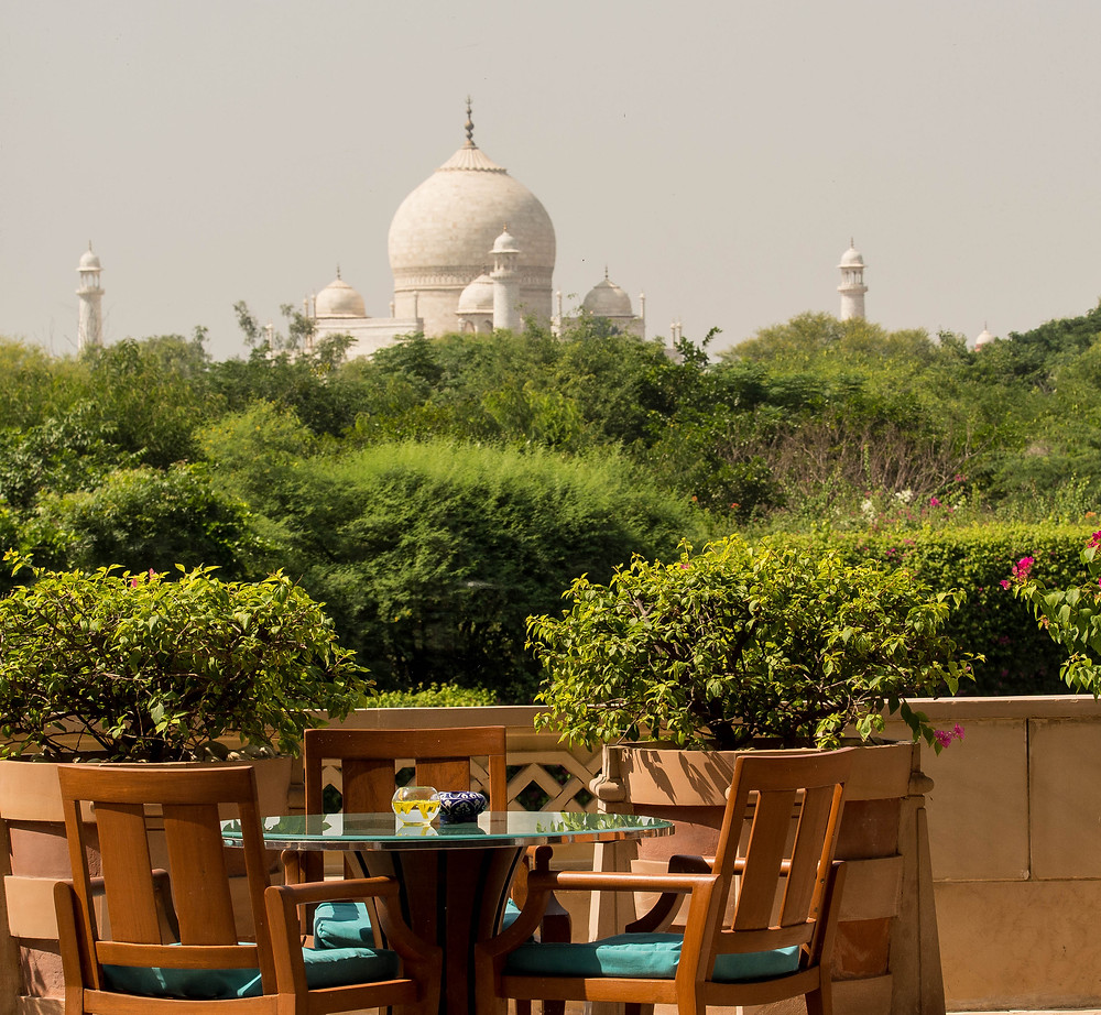 The Taj Mahal from the grounds of the Oberoi Amarvilas Hotel, Agra