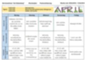"""Wochenplan unseres Aktiv-Treffs für Senioren """"Am Katzenberg 1"""", 09. April - 13. April 2018"""