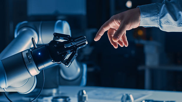 Futuristic Robot Arm Touches Human Hand in Humanity and Artificial Intelligence Unifying G