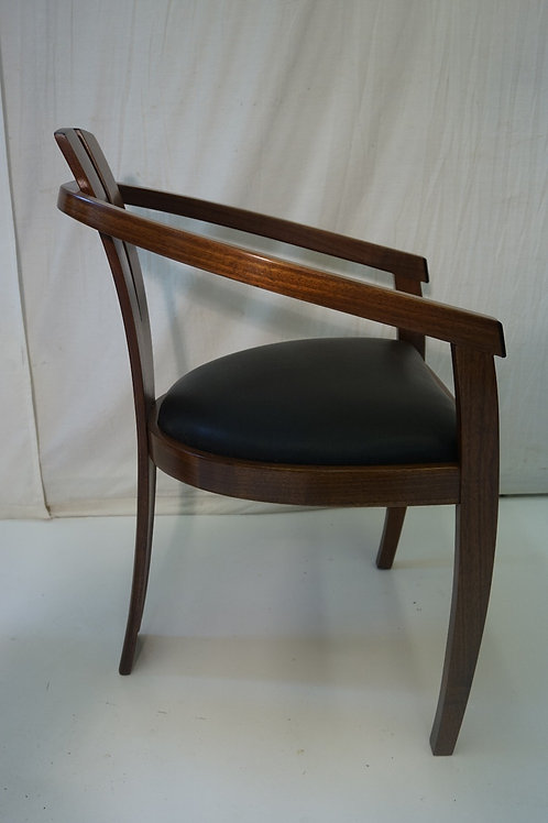 The Verve Chair .Walnut w/h ebony accents leather