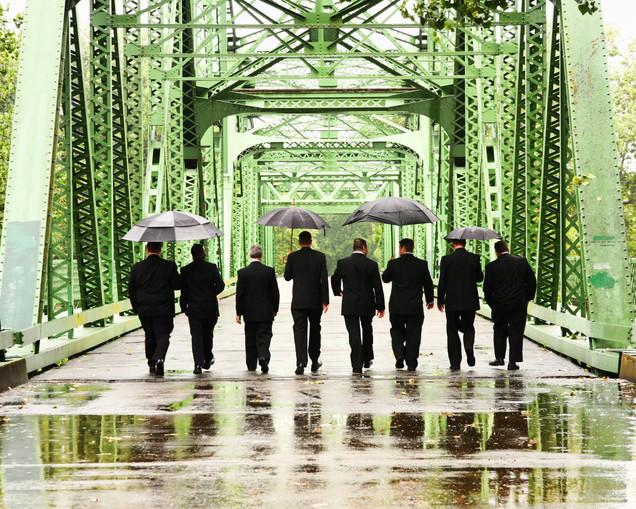 Wedding 2011 Discovery Park Bridge in Rain