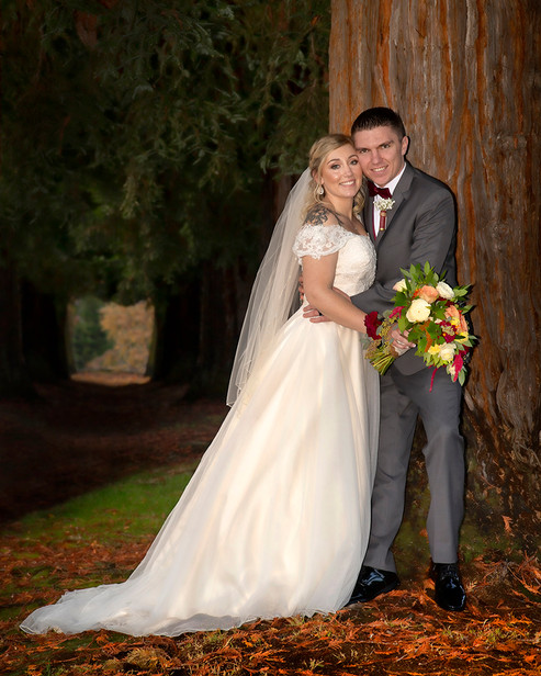 Bride & Groom after ceremony with redwoods