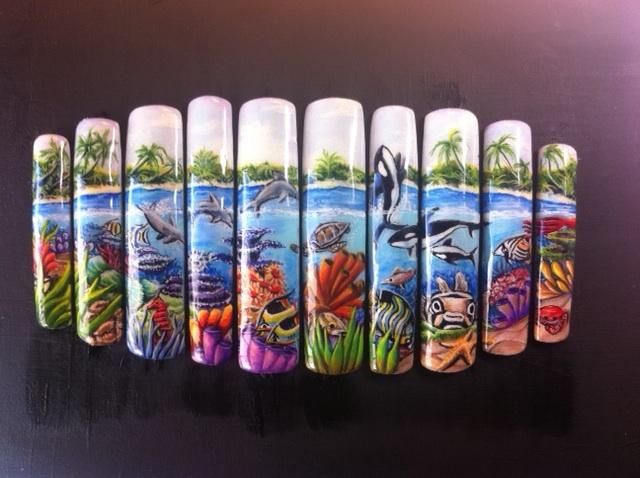 Sea Life Flat Nail Art