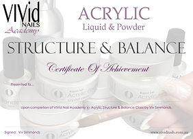 Acrylic Structure & Balance Certificate.