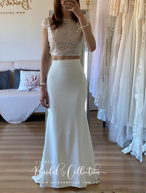 Bailey Crepe skirt with sparkle top
