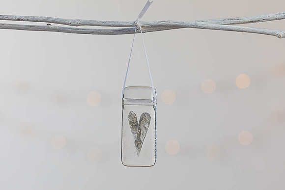 Grey and silver glass heart