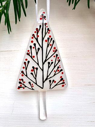 Winter - Bespoke glass hanging decoration, winter white